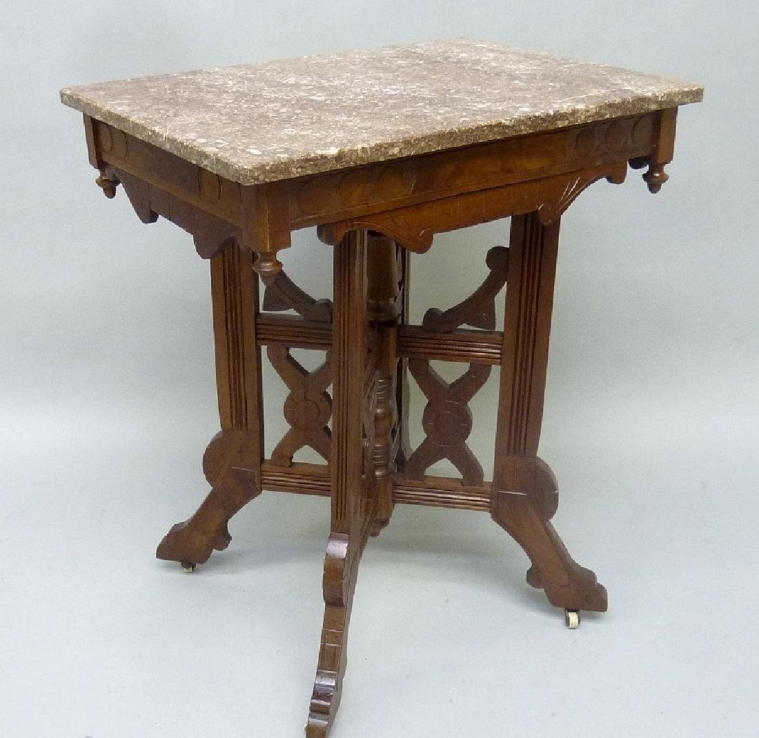 Burl Walnut Circa 1880's  Marble Top Parlor Table with