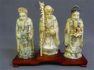 Set of 3 Chinese Carved Bone Figures of Elders on wood