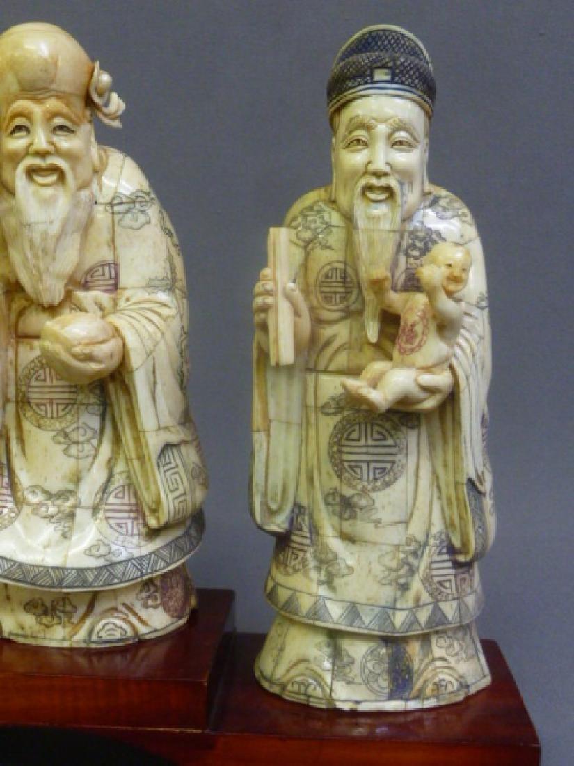 Set of 3 Chinese Carved Bone Figures of Elders on wood - 2