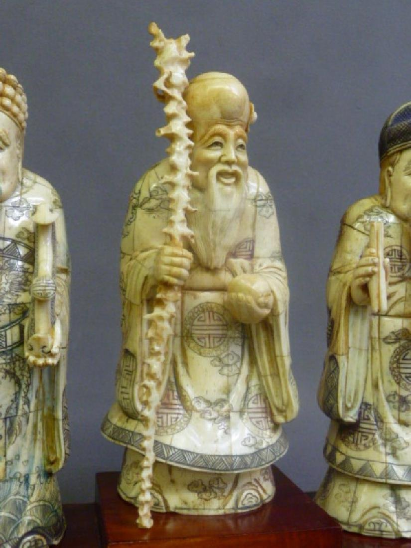 Set of 3 Chinese Carved Bone Figures of Elders on wood - 3