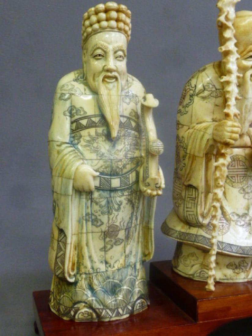 Set of 3 Chinese Carved Bone Figures of Elders on wood - 4