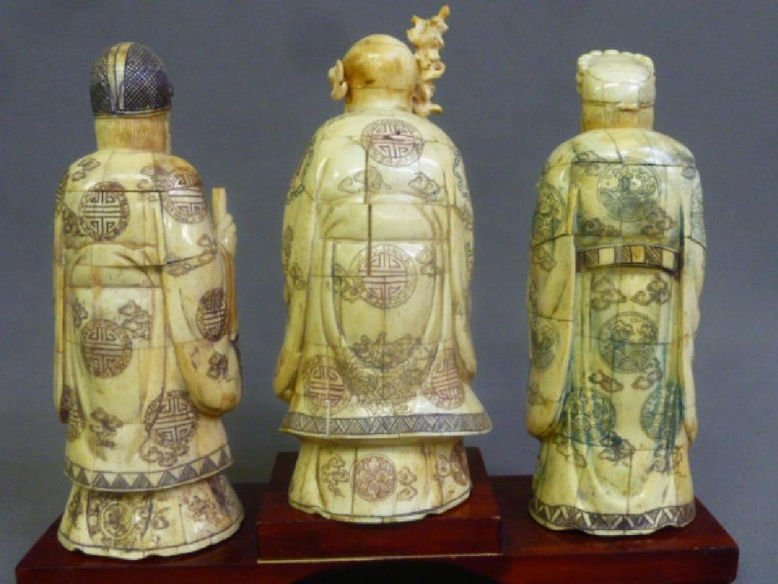 Set of 3 Chinese Carved Bone Figures of Elders on wood - 5