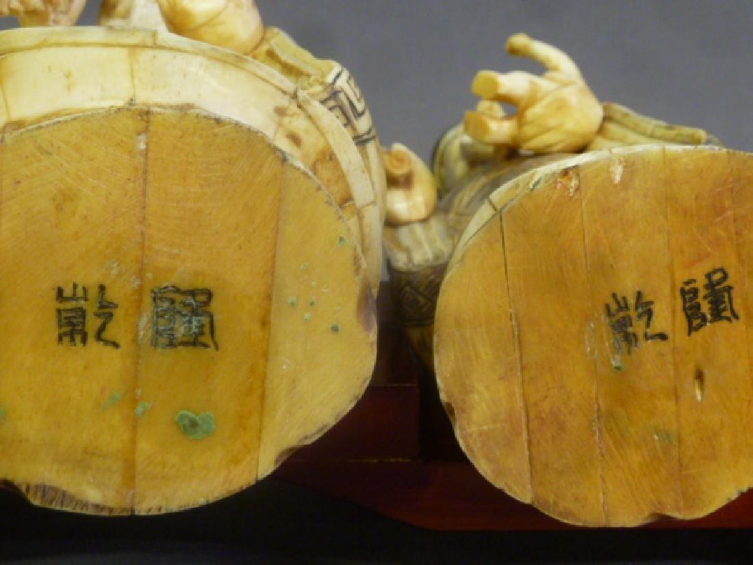 Set of 3 Chinese Carved Bone Figures of Elders on wood - 6