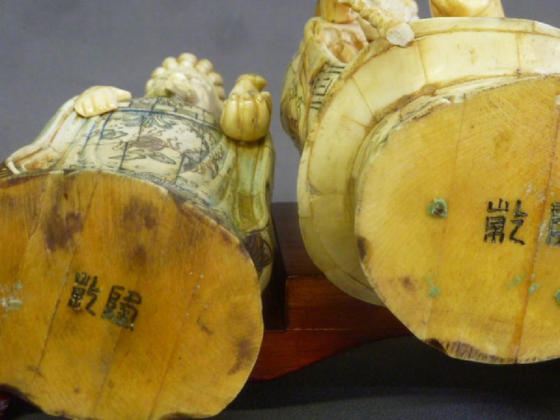 Set of 3 Chinese Carved Bone Figures of Elders on wood - 7