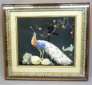 Superb Quality Semi-precious Stone Peacock Picture