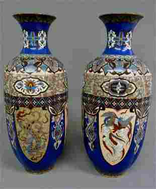 MeijiPeriod High Quality Japanese Cloisonne Vases with