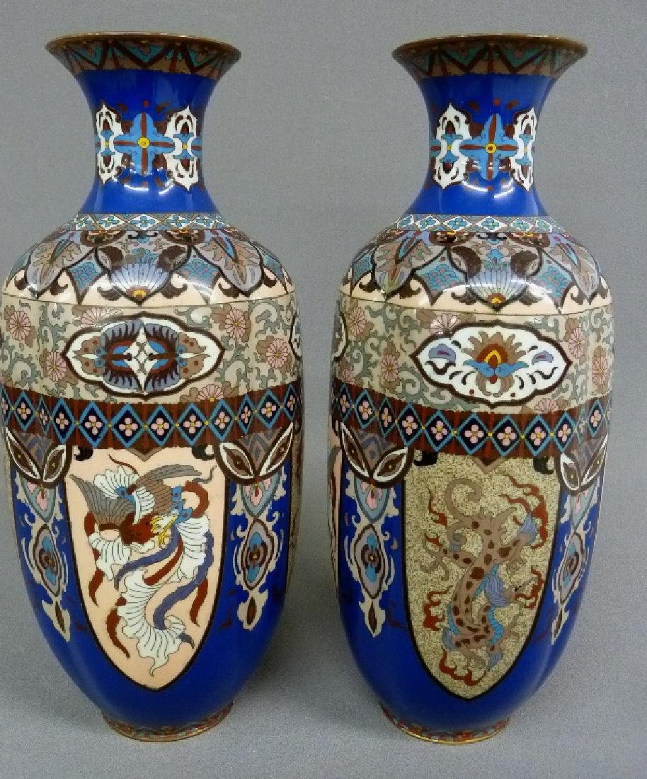 MeijiPeriod High Quality Japanese Cloisonne Vases with - 2
