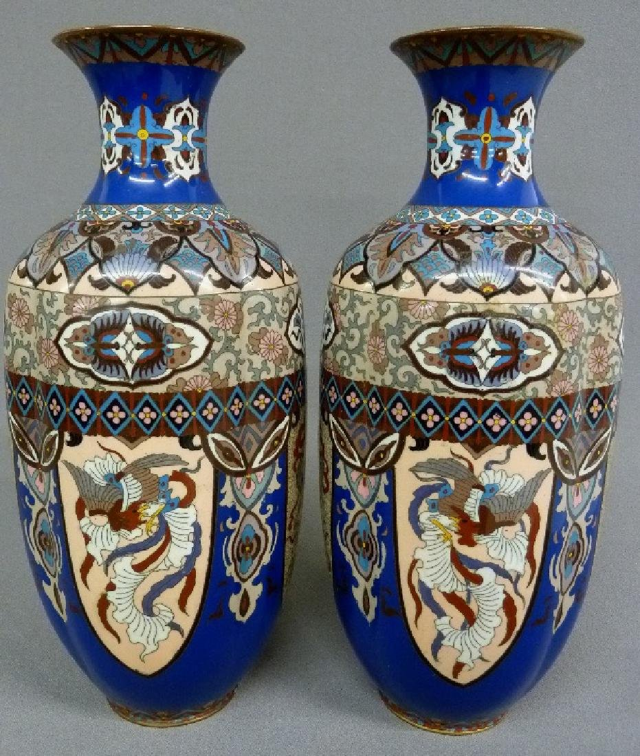 MeijiPeriod High Quality Japanese Cloisonne Vases with - 3