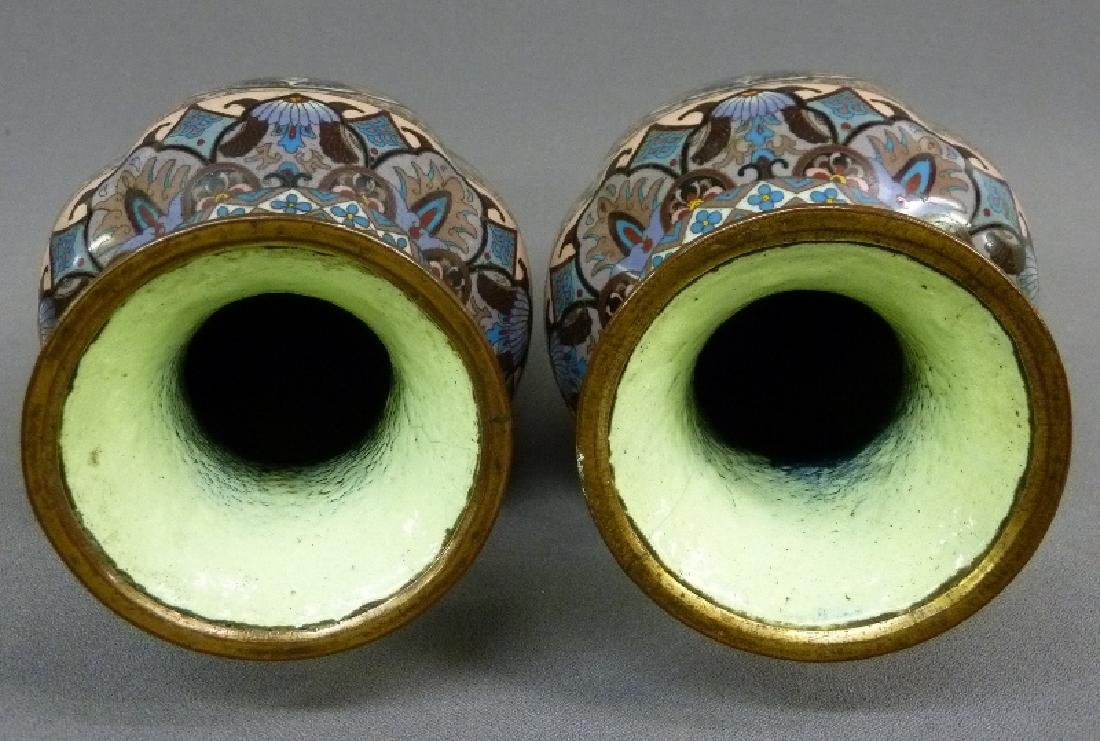 MeijiPeriod High Quality Japanese Cloisonne Vases with - 4