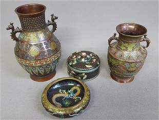 Circa 1900 4 Pc collection of Cloisonne & Champleve - 2