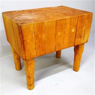 Circa 1920 Massive Quality Maple Chopping Block with