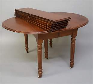 Circa 1870's Walnut dropleaf table w/6 leaves