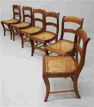 C 1840's Solid Walnut American Empire Dining Chairs -