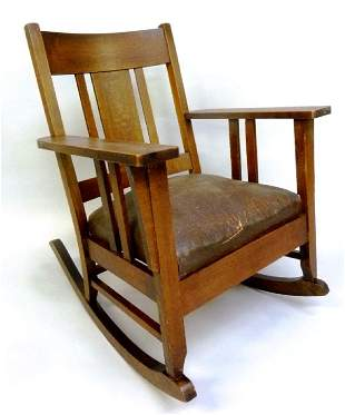 Circa 1915 Mission Oak Rocker with Spring Seat - old