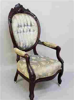 Circa 1860 Walnut American Gentlemans Chair with tufted