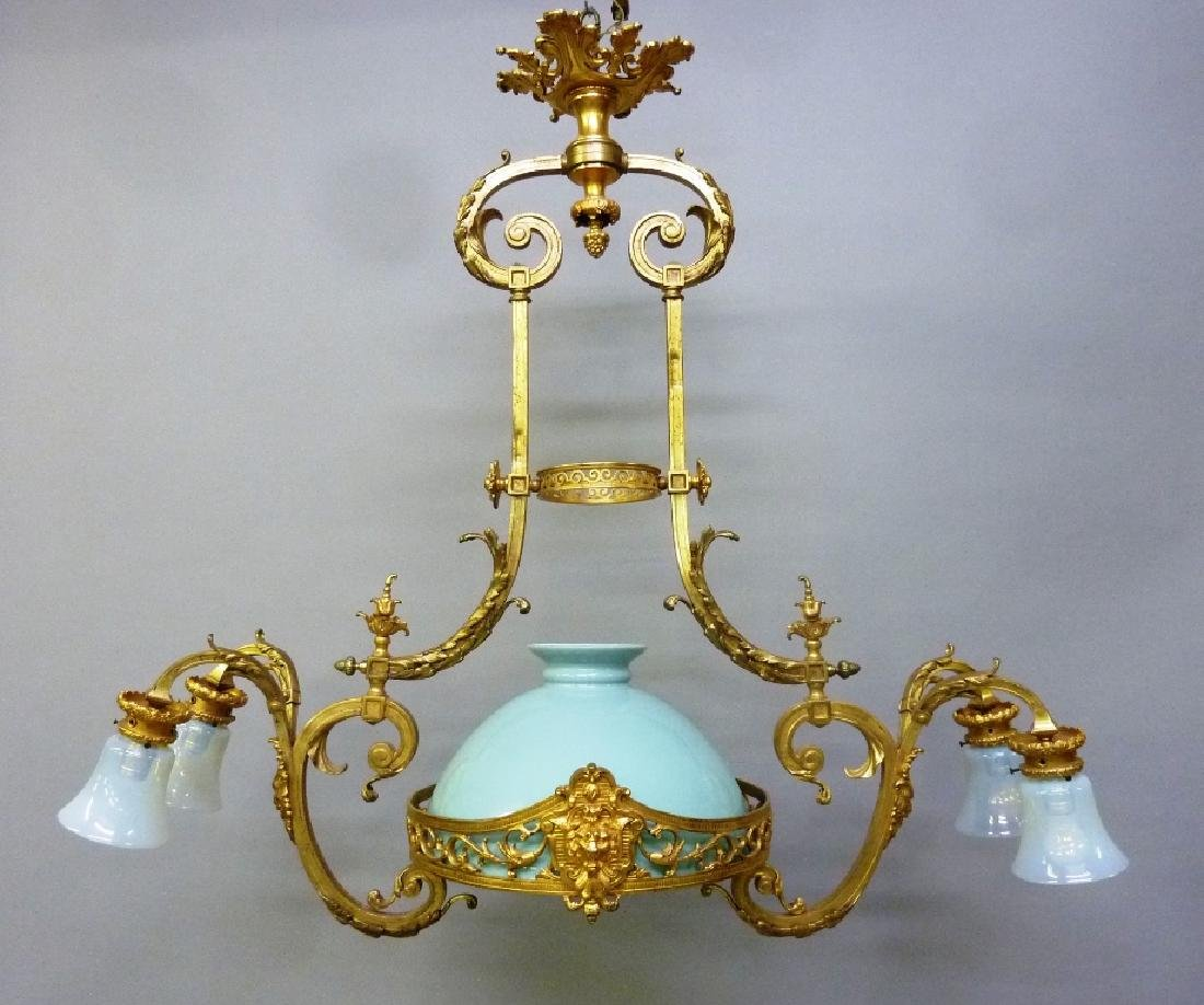 Early 20th Century Solid Bronze French Chandelier with