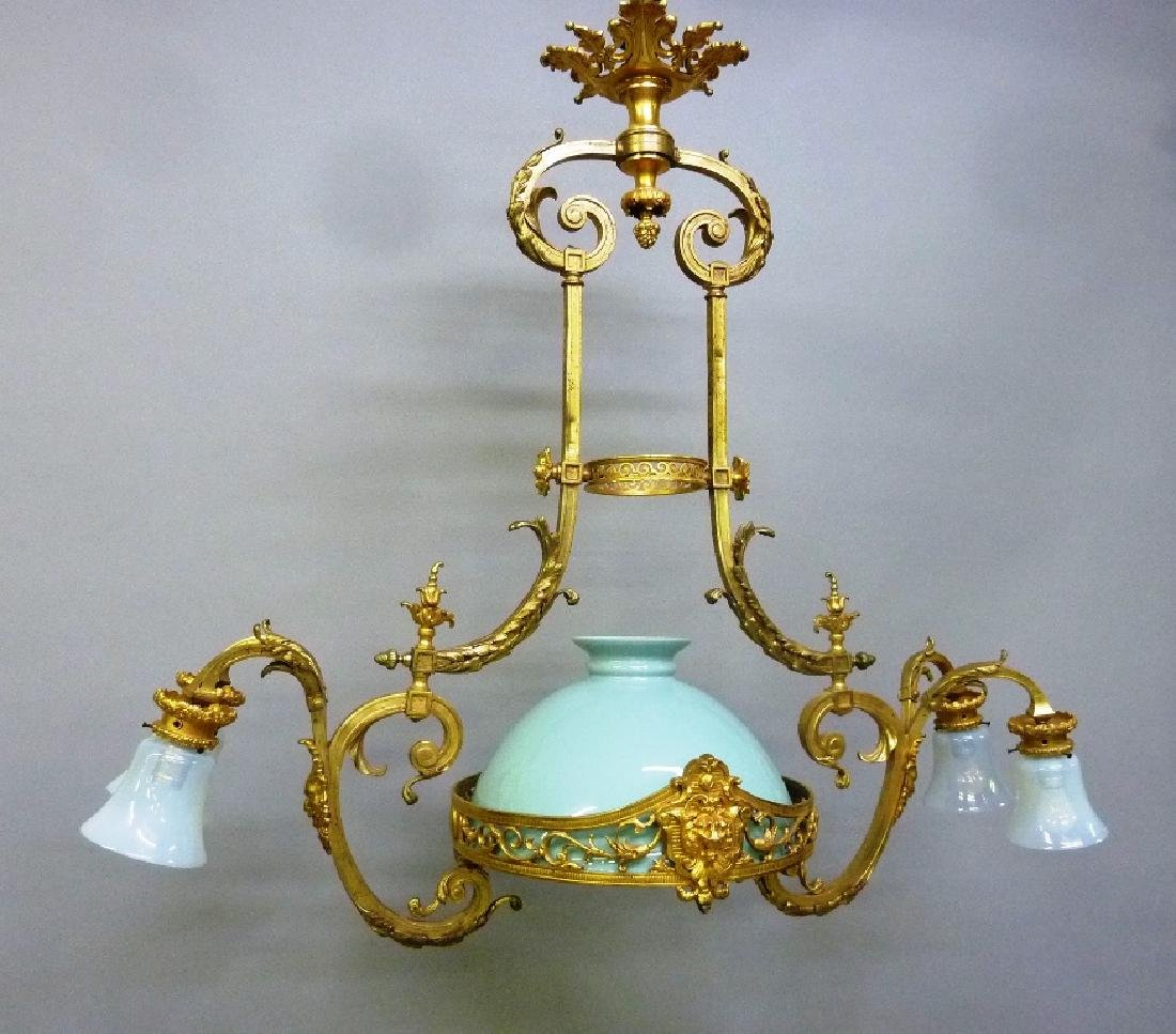 Early 20th Century Solid Bronze French Chandelier with - 2