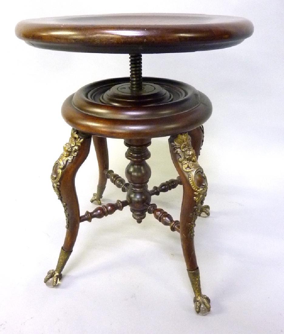 Rare c 1900 Brass Cupid Decorated Swivel Stool with