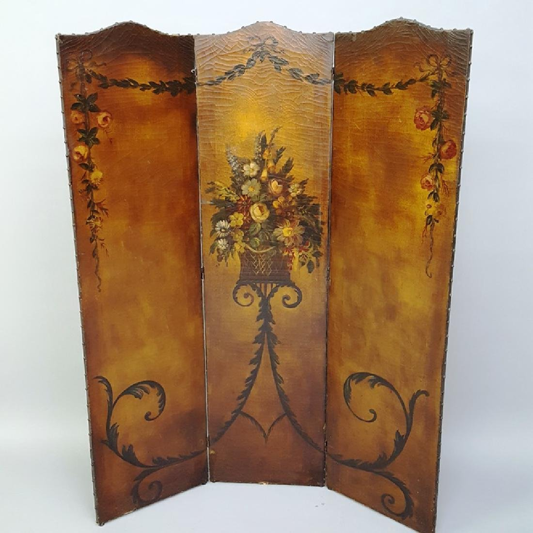 Hand Painted Circa 1920's Leather Folding Screen with