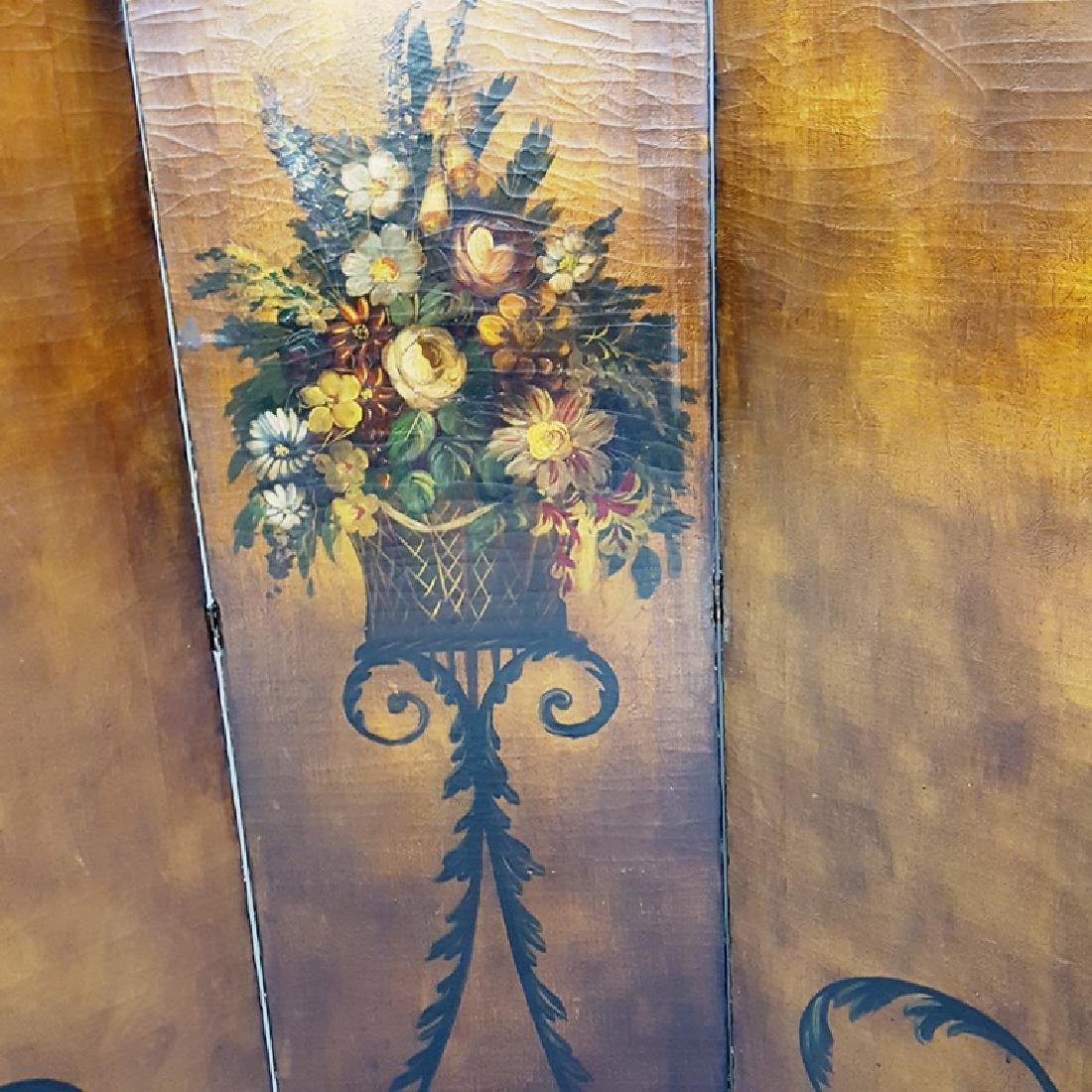 Hand Painted Circa 1920's Leather Folding Screen with - 2