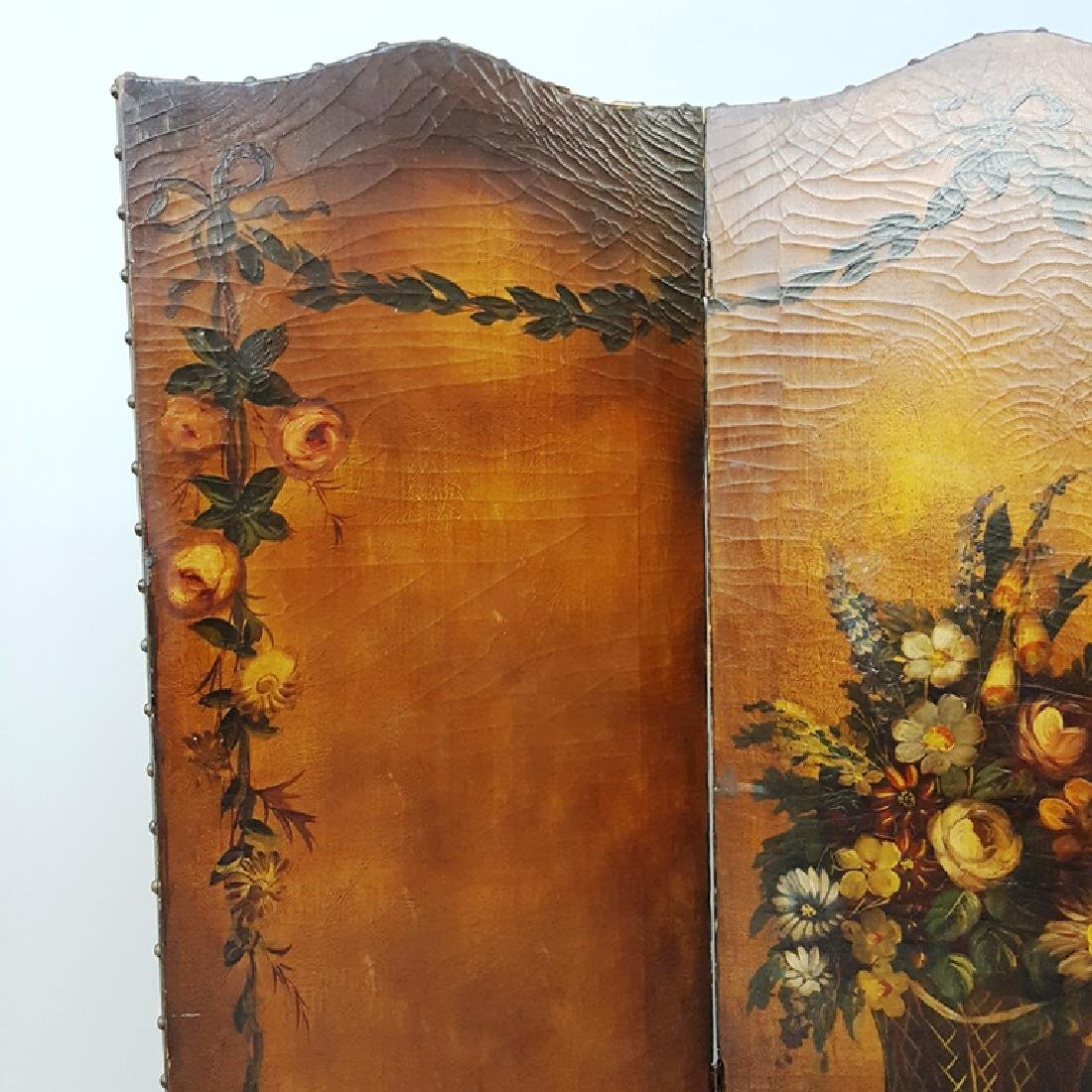 Hand Painted Circa 1920's Leather Folding Screen with - 3