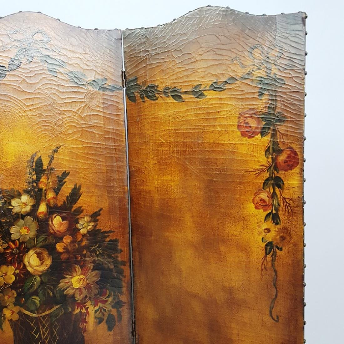 Hand Painted Circa 1920's Leather Folding Screen with - 4