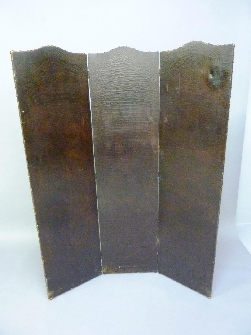 Hand Painted Circa 1920's Leather Folding Screen with - 5