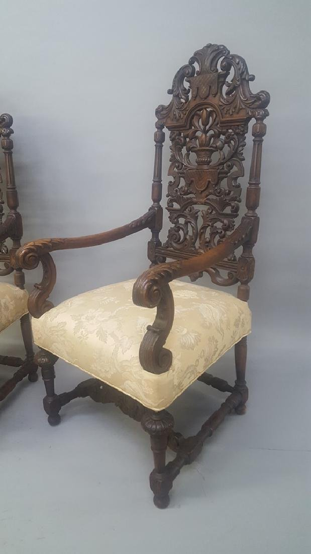 "Circa 1910 Heavily Carved Mahogany Arm Chairs - hgt 53"" - 2"