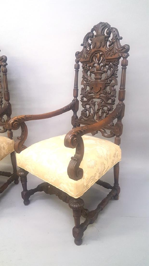 "Circa 1910 Heavily Carved Mahogany Arm Chairs - hgt 53"" - 3"