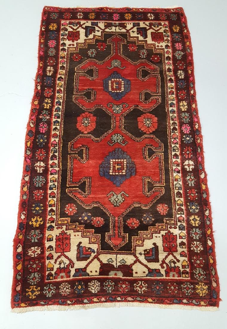 Hand Tied Oriental Rug in Cranberry, Brown, Beige &
