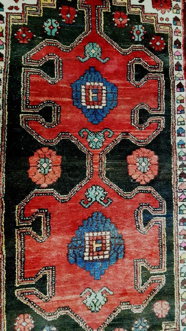 Hand Tied Oriental Rug in Cranberry, Brown, Beige & - 2