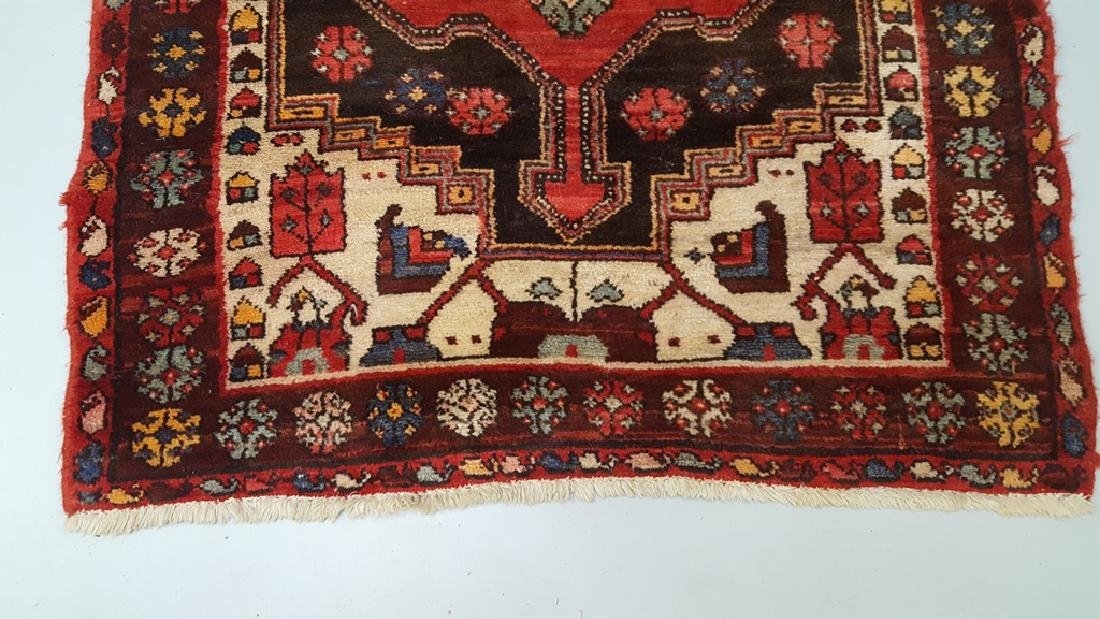 Hand Tied Oriental Rug in Cranberry, Brown, Beige & - 3