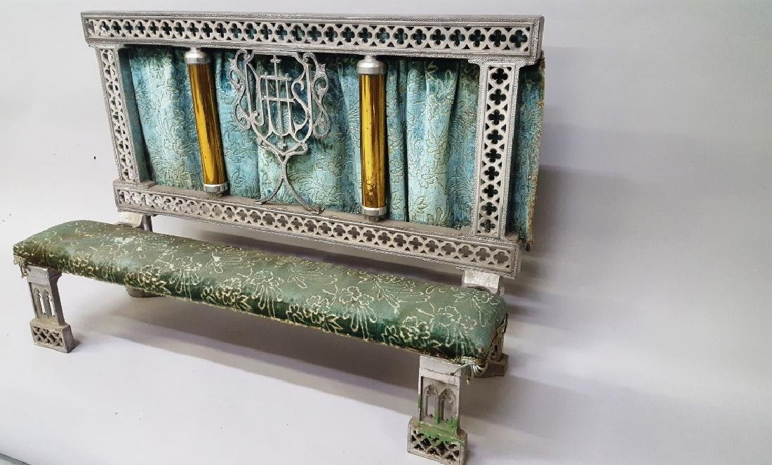 Catholic kneeler with cast metal frame & brass tubes -