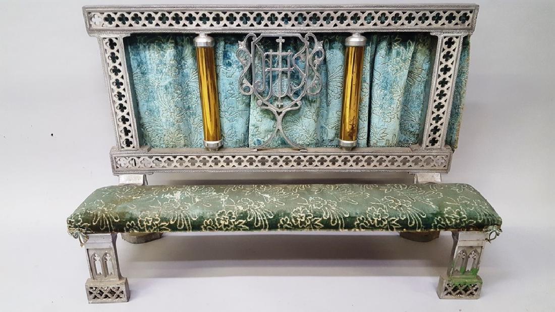 Catholic kneeler with cast metal frame & brass tubes - - 2