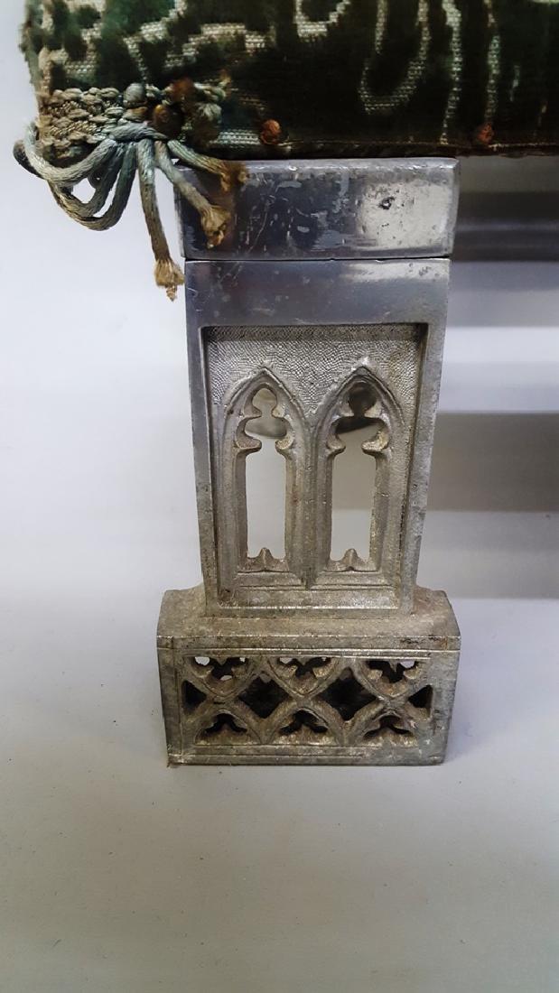 Catholic kneeler with cast metal frame & brass tubes - - 3
