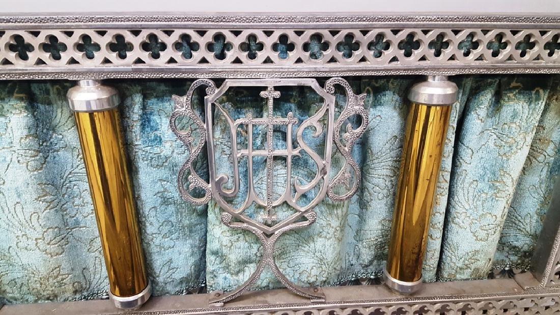 Catholic kneeler with cast metal frame & brass tubes - - 4