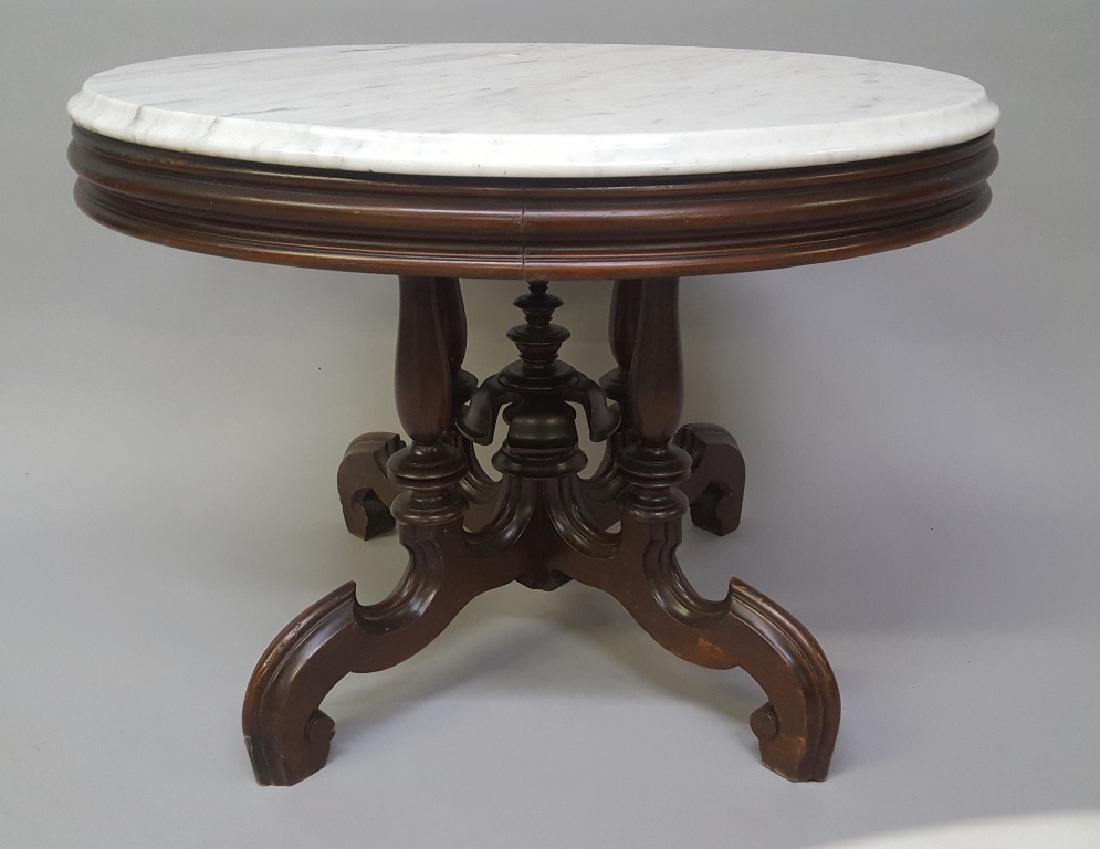 Circa 1870's Oval Walnut Marble Top Coffee Table - very