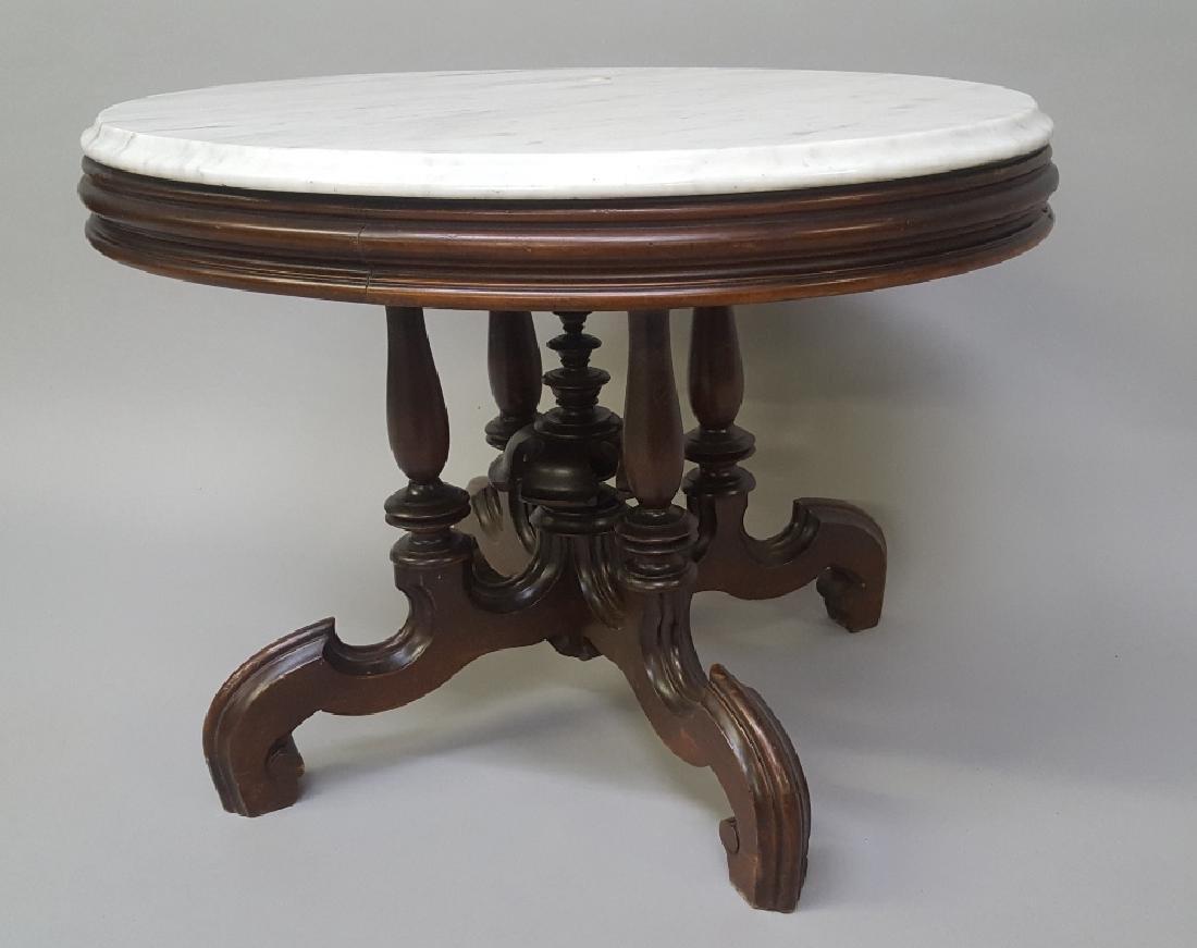 Circa 1870's Oval Walnut Marble Top Coffee Table - very - 2
