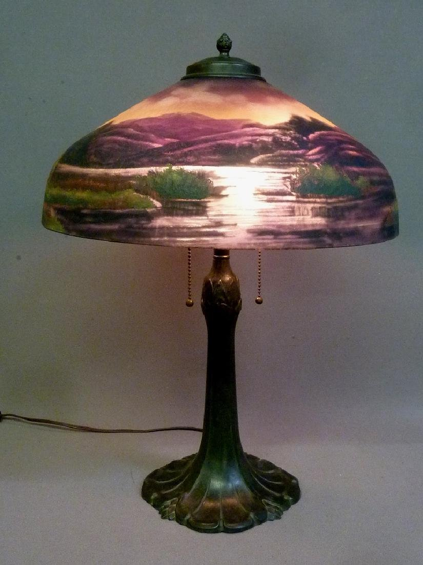 Signed (Pittsburg) Reverse Painted 1920's Table Lamp -