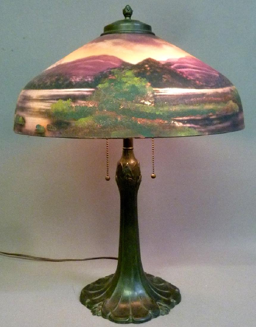 Signed (Pittsburg) Reverse Painted 1920's Table Lamp - - 3
