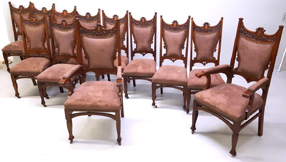 Circa 1900 Fantastic set of 12 Carved Dining Chairs -