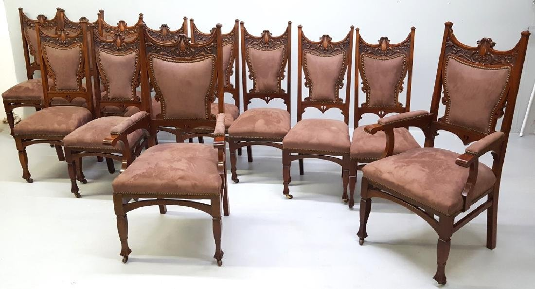 Circa 1900 Fantastic set of 12 Carved Dining Chairs - - 2