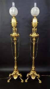 Fantastic Pair Gilt Bronze Gas Floor Lamps c 1870's,