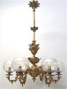 Circa 1860's Cornelius & Baker  6 Arm Gas Chandelier -