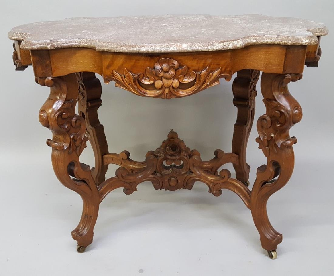 Circa 1850's Ornate Walnut Marble Top Parlor Table with