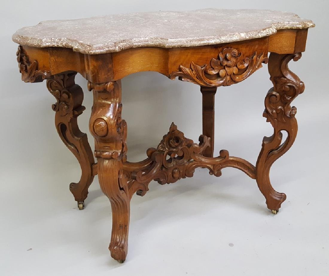 Circa 1850's Ornate Walnut Marble Top Parlor Table with - 2