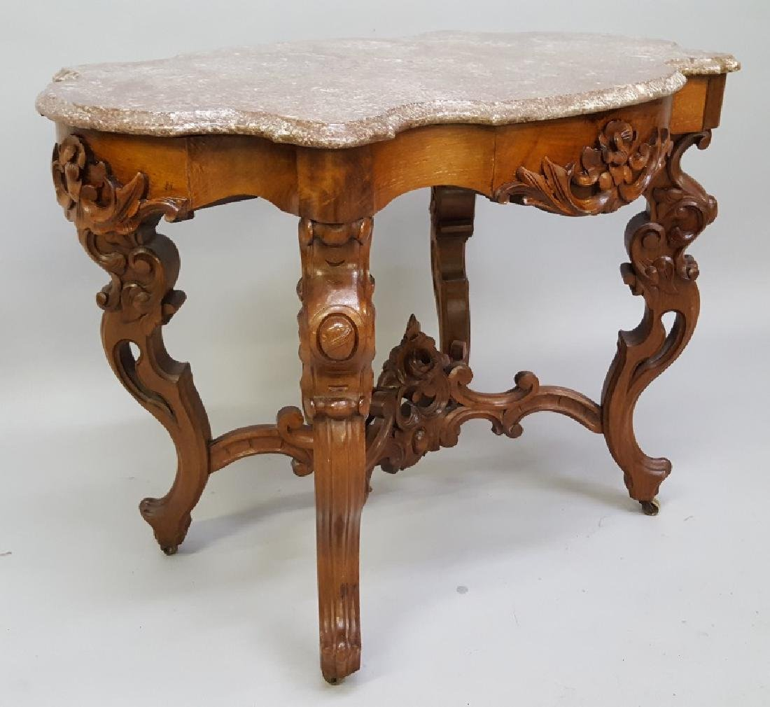 Circa 1850's Ornate Walnut Marble Top Parlor Table with - 3