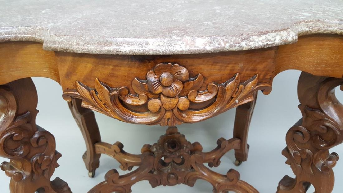 Circa 1850's Ornate Walnut Marble Top Parlor Table with - 5