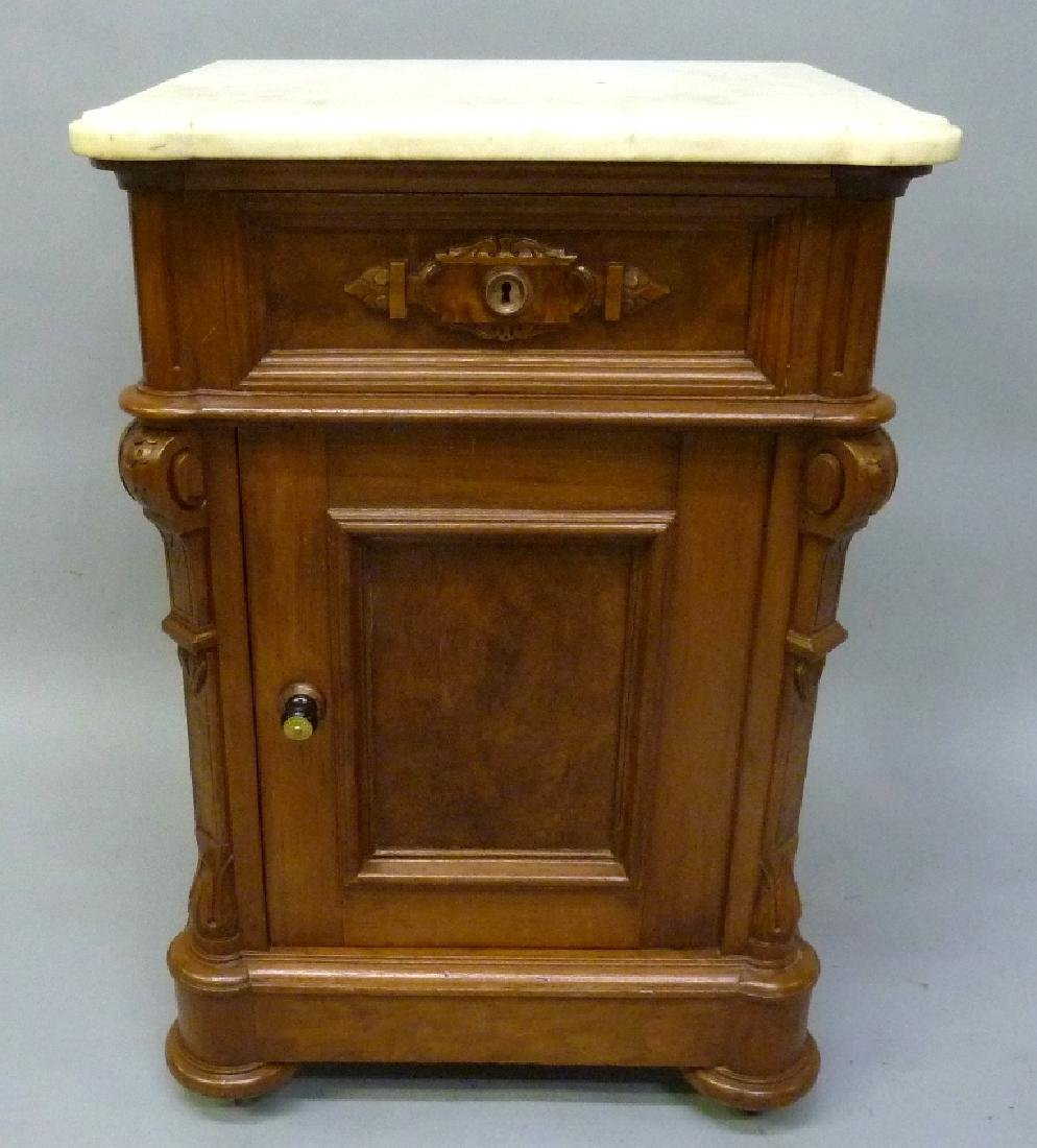 Circa 1870's Walnut Marble Top 1/2 Commode with nice