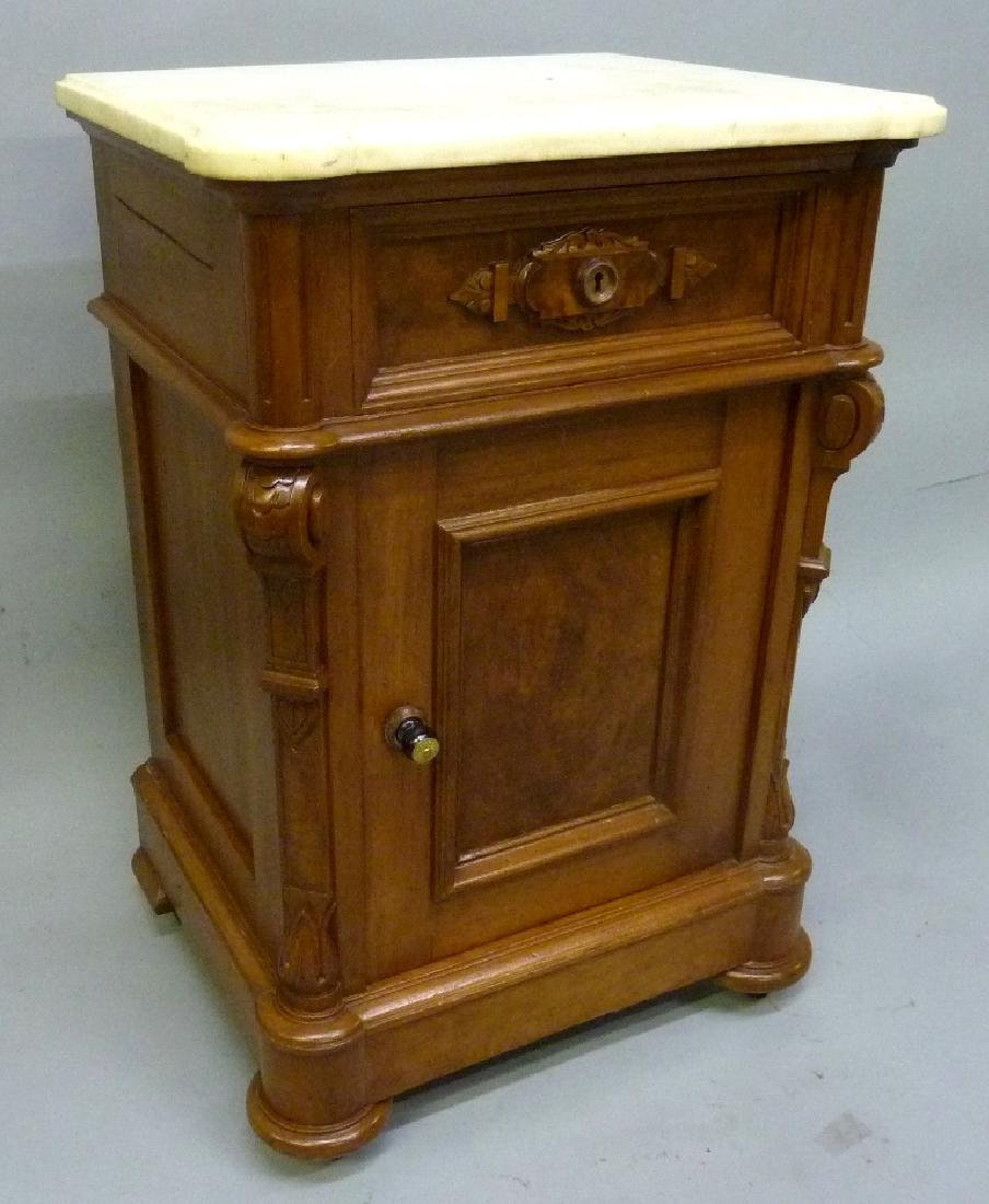 Circa 1870's Walnut Marble Top 1/2 Commode with nice - 2